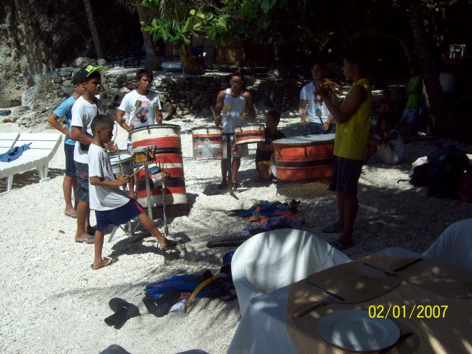 Drummers on Apo Island