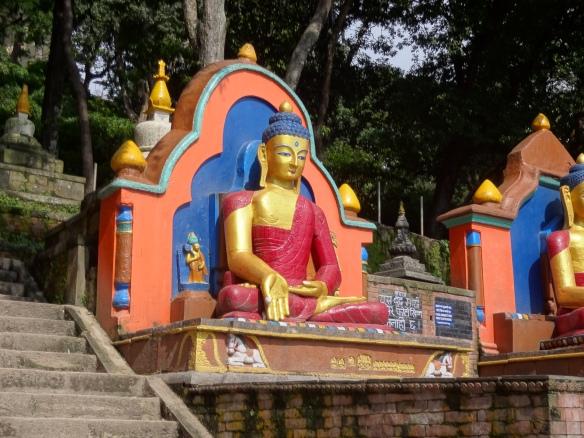 Close up of Swayambuneth Buddhas