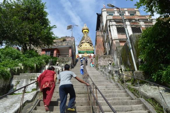 climbing up to Swayambuneth Temple