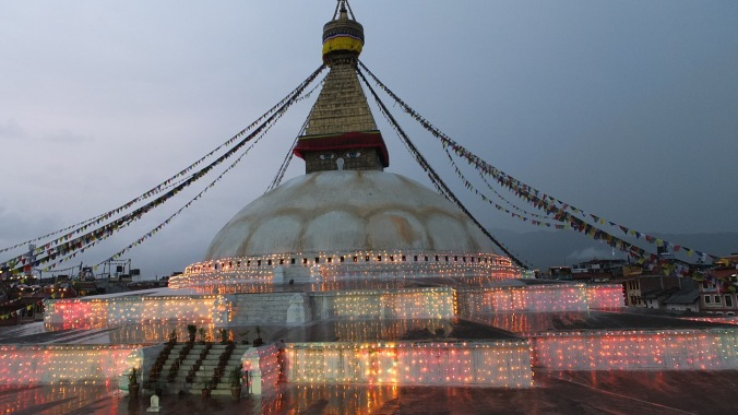 Boudha stupa with lights