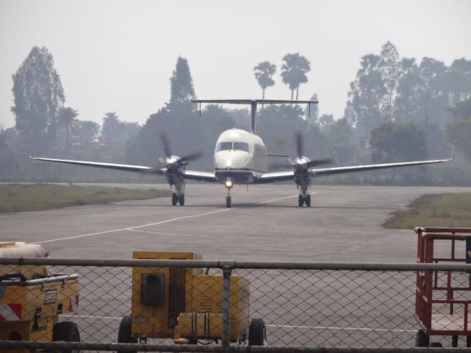 twin propeller plane