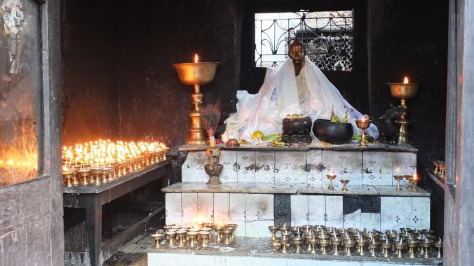 Namobuddha Stupa, butter lamps